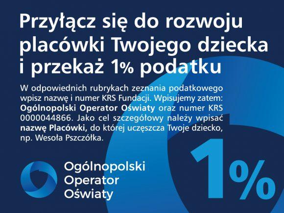 Przyłącz się do rozwoju placówki Twojego dziecka i przekaż 1% podatku